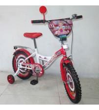 """Велосипед Tilly Автоледі 16 """"white + crimson з додатковими колесами"""