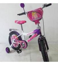 """Велосипед Tilly Балерина 16 """"white + purple з додатковими колесами"""