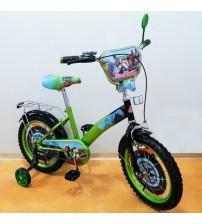 """Велосипед Tilly Мотогонщик 16 """"green + black з додатковими колесами"""