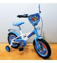 """Велосипед Tilly Авіатор 14 """"white + blue з додатковими колесами"""