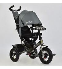 Триколісний велосипед з фарою і ключем запалювання (надувні колеса) сірий