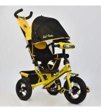 Триколісний велосипед з фарою (надувні колеса) жовтий