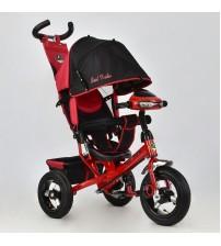 Триколісний велосипед з фарою (надувні колеса) червоний