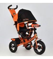 Триколісний велосипед з фарою і ключем запалювання (надувні колеса) помаранчевий