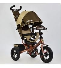 Триколісний велосипед з фарою і ключем запалювання (надувні колеса) коричневий