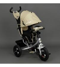 Триколісний велосипед з фарою і ключем запалювання (надувні колеса) бежевий