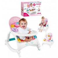 Дитячий музичний шезлонг-гойдалка 2в1 Bambi Рожевий
