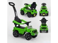 Машина-толокар з ручкою, колір зелений, російське озвучення, світлові ефекти, знімний захисний бампер