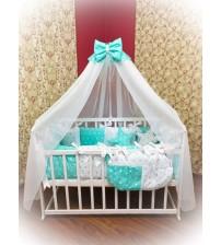Дитяча постільна білизна в ліжечко ТМ Bonna Elite Бирюзова з зірками