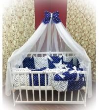 Дитяча постільна білизна в ліжечко ТМ Bonna Elite Синій горох