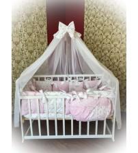 Дитяча постільна білизна в ліжечко ТМ Bonna Elite Рожевий горох