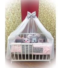 """Комплект дитячої постільної білизни Bonna """"Лісові звірята"""" рожево-сірий"""